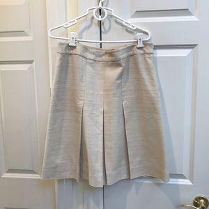 Banana Republic Cream Pleated Tweed Skirt